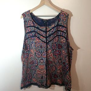 Lucky Brand Patterned Tank Top, 3X